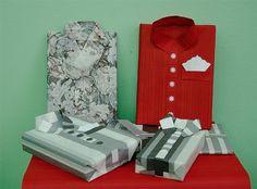 Artystyczne pakowanie prezentów - koszule z papieru