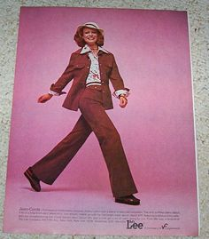 1fbf8e8c 1975 print ad - SHELLEY HACK - Ms Lee Jeans hat corduroy fashion vintage  ADVERT