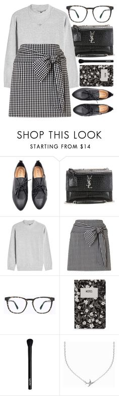 """""""Lucky Charm"""" by smartbuyglasses ❤ liked on Polyvore featuring Oxford, Yves Saint Laurent, Velvet, Miss Selfridge, Mykita, Design Letters, NYX, Minnie Grace, black and gray"""