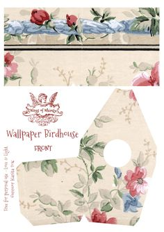 Wings of Whimsy: Wallpaper Birdhouse No 3 Front #vintage #ephemera #freebie #printable #wallpaper #bird #house