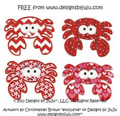 Cute Free Crab Applique machine embroidery design