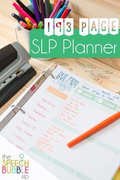 Easy to use, printable planner for your speech therapy or special education classroom!  Great calendar with lots of writing space! #SpeechBubble #SLP #SpEd #journal #schedule #planning #TpT #meetings
