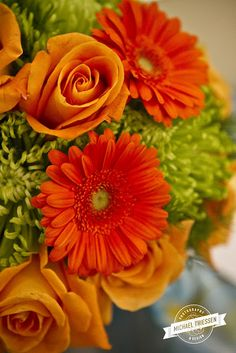 #Lime green and #orange wedding bouquet