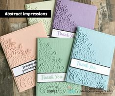VIDEO TUTORIAL and full instructions on how to make these easy but elegant cards featuring Stampin' Up Abstract Impressions.