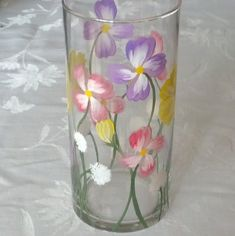 Spring flowers hand painted candle holder by GlassesbyJoAnne, $22.00