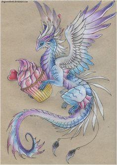 Cupcake Dragon by - drawings_pintous Cute Dragon Drawing, Dragon Sketch, Dragon Drawings, Creature Drawings, Animal Drawings, Art Drawings, Mythical Creatures Art, Fantasy Creatures, Fantasy Dragon