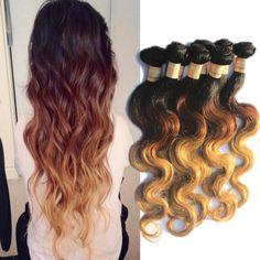 """Human Hair Extensions 50g/pcs 1/2/3Bundles 16""""-20"""" 1b33#27# Brazilian Body Wave #Wigiss #BodyWave"""