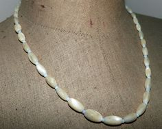 Mother of pearl necklace elegant antique French beaded pearl necklace w opal beads, French vintage jewelry accessories by MyFrenchAntiqueShop on Etsy