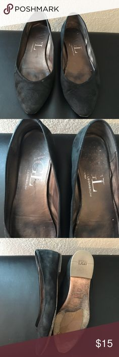 AGL Black Flats Pointy toe black flats. Very company. Size 9 but fit like a 8-8.5. Suede, metallic look to them. A little dusty. Agl Shoes Flats & Loafers
