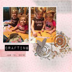 sisters crafting digital scrapbook layout little girls fun crafts scrap book page