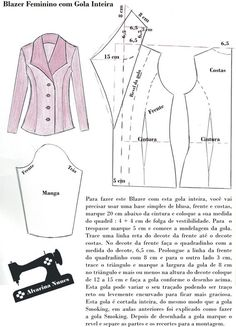Costura e Modelagem - Trend Ideas Blazer Pattern, Collar Pattern, Jacket Pattern, Sewing Coat, Sewing Clothes, Diy Clothes, Coat Patterns, Dress Sewing Patterns, Clothing Patterns