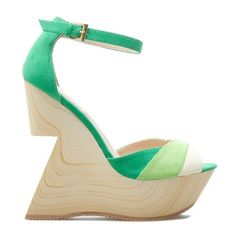 Multi-Green Wedges W/Unique Heel 8.5, Shoe Dazzle