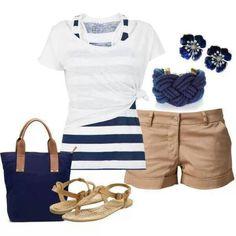 Navy. Khaki. Stripes. Nautical