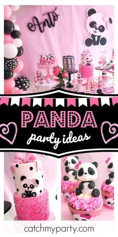 Violeta Glace 's Birthday / Panda - Oso Panda Party at Catch My Party Panda Themed Party, Panda Party, Baby Girl Shower Themes, Baby Shower, Girls Birthday Party Themes, Birthday Party Decorations, Panda Birthday Cake, Birthday Cupcakes, Panda Bear Cake