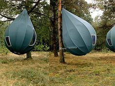 Tents hanging from trees