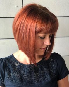 A-Line Bob Hairstyles with Bangs for Flattering Looks. There is no reason why your haircut should be dull, which means it's time to get an a-line bob A Line Bob With Bangs, Layered Haircuts With Bangs, Stacked Bob Hairstyles, Bob Hairstyles With Bangs, Bob Haircut With Bangs, Bob Haircuts, Stylish Hairstyles, Latest Hairstyles, Pixie Cuts