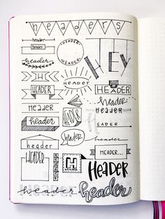 Super Cool Bullet Journal Header Ideas Like Pro - Seeing a simple bullet journal may seem boring. You can spice points up by making an extremely creative bullet journal through creative headers, doodl Bullet Journal Simple, Bullet Journal Headers, Bullet Journal Banner, Bullet Journal 2019, Bullet Journal Notebook, Bullet Journal Aesthetic, Bullet Journal Ideas Pages, Bullet Journal Layout, Bullet Journal Inspiration