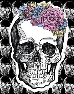 Flowery Shady Linesh Skull With Thingies by AutumnAshley5. http://www.creativeboysclub.com/tags/we-love-skulls