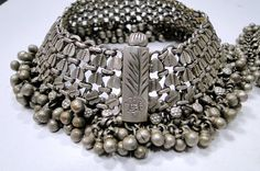 Northern India | Old silver anklet from Rajasthan | exact age unknown.