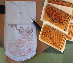 Leather Tooling Carving Patterns Leathercraft Pattern Name Card Case Pattern | eBay