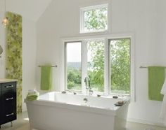 Been looking round for ideas for small bathrooms. I came across pictures that I just passed off 'cuz the sizes are big.  But, this one... the green tone, with the mix of nature is just heavenly simple and relaxing. I ought to pin. :)