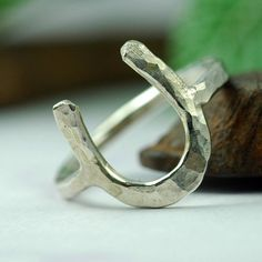 Silver Horseshoe Ring - Silver Ring - Lucky Charm Ring - Handmade from Recycled Silver - Equestrian Horse Dream. $68.00, via Etsy.