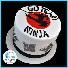 ninja birthday cake - by Blue Sheep Bake Shop, Custom Cakes in NJ - like us on… Ninja Birthday Cake, Ninja Cake, Karate Birthday, Ninja Birthday Parties, Themed Birthday Cakes, Boy Birthday, Birthday Ideas, Karate Cake, Karate Party