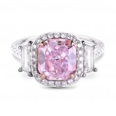 Fancy Pinkish Purple Cushion Diamond Ring, SKU 193938 (3.69Ct TW)