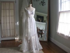 Reserved for Victoria deposit Tiered Lace Wedding Dress, Fairy wedding Dress, Boho Wedding Dress, Hippie Wedding Dress, One of a Kind Renaissance Wedding Dresses, Fairy Wedding Dress, Ivory Lace Wedding Dress, Bridal Gowns, Wedding Gowns, Hippie Bride, Plus Size Wedding, Vintage Bridal, Victoria
