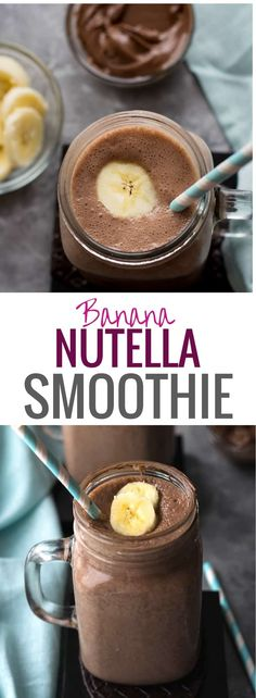Recipes For Kids Banana Nutella Smoothie Recipe - Your kids will love this delicious Banana Nutella Smoothie Recipe - a healthy-ish drink made from bananas and milk with a hint of Nutella and hot cocoa. Make breakfast exciting for your family. Nutella Smoothie, Nutella Milkshake, Nutella Frosting, Milkshakes, Nutella Drink, Nutella Brownies, Fruit Smoothies, Healthy Smoothie Recipes, Desert Recipes