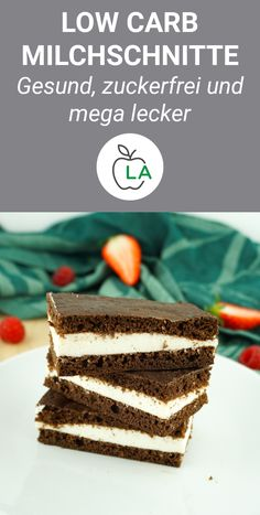 Low Carb Milchschnitte – Der perfekte Snack zum Abnehmen Sugar-free snacks bake, which are even low carb? These milk cuts are perfect for you if you want to do magic that's fast and healthy. Low Carb Milk, Low Carb Protein, Healthy Protein, Protein Foods, High Protein, Protein Desserts, Low Carb Desserts, Healthy Desserts, Low Carb Recipes
