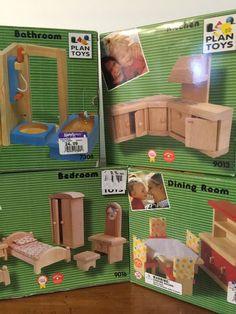 Wood Dollhouse Furniture Sets Plan Toys Diningroom Bathroom Kitchen Bedroom   eBay