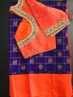 Pattu Saree Blouse Designs, Fancy Blouse Designs, Bridal Blouse Designs, Lehenga Designs Simple, Simple Designs, Long Dress Design, Hand Work Blouse Design, Maggam Work Designs, Embroidery Neck Designs