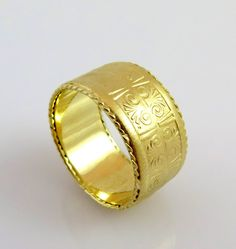 Best K Gold Wedding Band Pattern Ring Egyptian Ring Unique Wedding Bands Wide