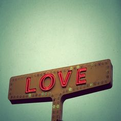 Vintage Neon Signs | Love Signs- red love letters on a vintage yellow neon sign - Fine Art ...