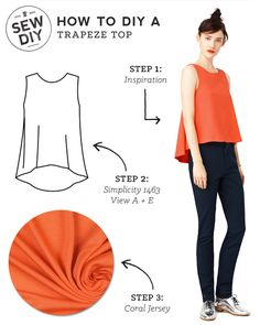 DIY Outfit – Trapeze Top - Sew DIY by combining Simplicity 1463, Views A and E.