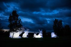Intrude by Amanda Parer   http://www.lostateminor.com/2014/08/27/tasmanian-festival-invaded-rabbits-size-houses/