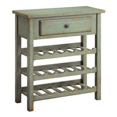 Weathered Green Wine Cabinet