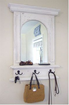 """The White Arch Mirror with Shelf & Hooks - Handmade French Architectural design by Arcadian Cottage (Made to order, any color choice--so doesn't have to be """"distressed! Hall Mirrors, Entryway Mirror, Arch Mirror, Shelf Hooks, Mirror With Hooks, Mirror Shelves, Small Space Living Room, Small Spaces, Mirror Organiser"""