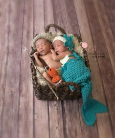 Mermaid & Fisherman Twin Photo Prop Set. Crochet by KirstsKorner