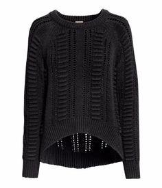 Pattern-knit black sweater   H+M