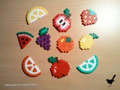 Strijkkralen fruit figuren Fruit Magnets Set of 10 made from Hama Beads by ZUZKICA on Etsy Hama Beads Design, Diy Perler Beads, Hama Beads Patterns, Perler Bead Art, Beading Patterns, Pearler Beads, Pixel Beads, Fusion Beads, Iron Beads