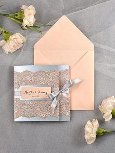 Vintage Wedding Invitation, Lace Wedding Invitation, Silver And Peach Wedding Invitation, Blush Wedding Invitation