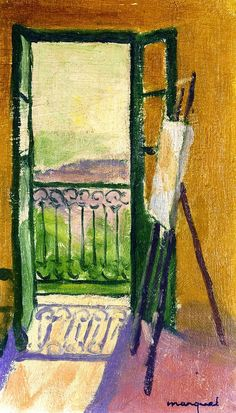 Albert Marquet - The Easel, 1944 That goes directly to my lounge. Henri Matisse, Rio Sena, Raoul Dufy, Georges Braque, Post Impressionism, Easel, Love Art, Artwork, Landscape