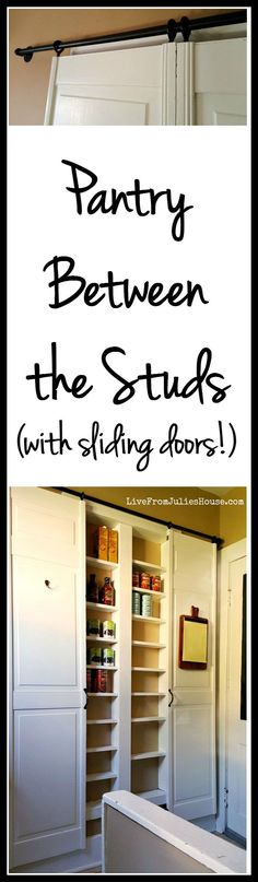 Pantry Between the Studs - Are you short on kitchen storage? This DIY Pantry Between the Studs adds TONS of useful storage and it's not hard to make. Tutorial via Live from Julie's House - EASY Budge (Diy Storage Pantry) Laundry Room Storage, Kitchen Organization, Laundry Rooms, Bathroom Storage, Storage Room, Garage Storage, Bathroom Closet, Small Laundry, Bathroom Wall