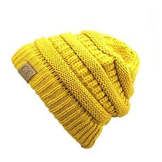 Women's Riverberry Chunky Cable Knit Beanie ($13) ❤ liked on Polyvore featuring tops, yellow, yellow top, slouchy tops, unisex tops and short tops