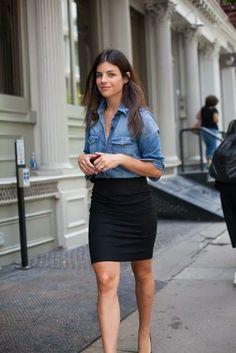 denim button down + pencil skirt.