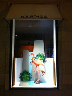 Hermes flamingo window Display Windows, Window Displays, Tropical Windows, Flower Shop Design, Concept Photography, Retail Windows, Visual Display, Window Ideas, Window Design