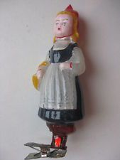 """Antique Russian Christmas transparent Glass Ornament """"Red Riding Hood"""""""