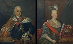 """Par De Quadros Representando O Rei D. Pedro III E A Rainha Dona Maria I De Portugal"""" Óleo sobre tela Fim Séc. XVIII"""